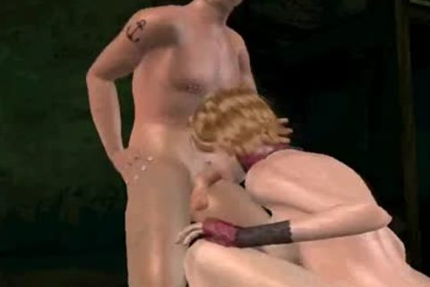 3D tranny receives double teamed
