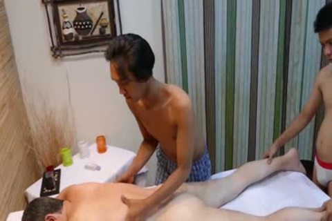 excited chap gets poked By Two asian men After slutty Massage